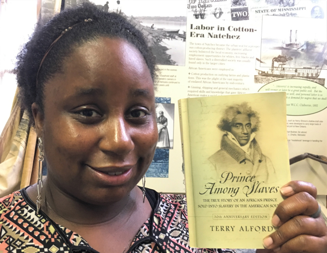 """""""We kind of resemble each other,"""" said Adams-Minor, a direct descendent of the African prince kidnapped and enslaved in Mississippi. (Photo by Fran Golden)"""