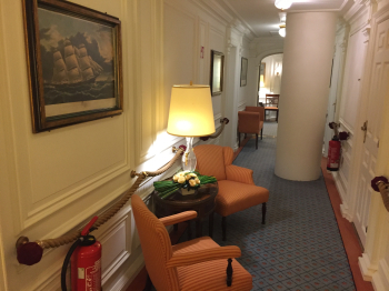 A hallway links the original 10 cabins on Sea Cloud (Photo by David G. Molyneaux, TheTravelMavens.com)
