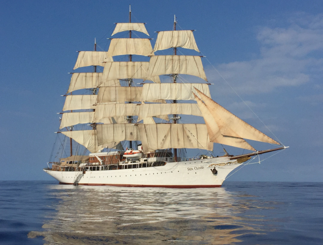 Sea Cloud, built in 1931, sailing in the Caribbean. The picture was taken in 2019 from a Zodiac launched from the ship for passengers. (Photos by David G. Molyneaux, TheTravelMavens.com)
