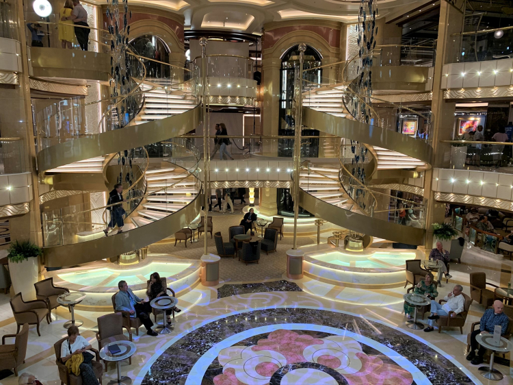 The tiered Piazza is a favorite and sometimes busy meeting spot on Sky Princess and her sister ships (Photo by David G. Molyneaux, TheTravelMavens.com)